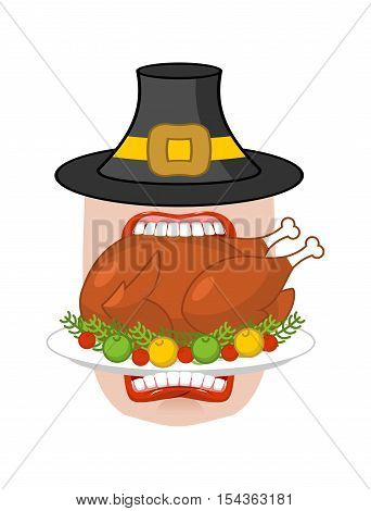 Happy Thanksgiving Eat Cooked Turkey. Open Mouth To Make Roast Fowl On Plate With Apples. Historic F
