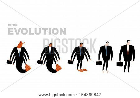 Office Evolution. Office Plankton Turns Into Boss. Shrimp In Human Development. From Manager To Dire