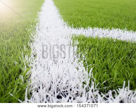 The White Line Marking On The Artificial Green Grass Footbal, Soccer Field