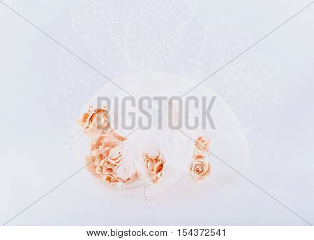 Hairgrip with veil isolated at white background.