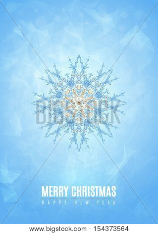 Merry christmas happy new year fancy gold and white winter snowflake shape in tribal style. Ideal for xmas card or elegant holiday party invitation. EPS10 vector