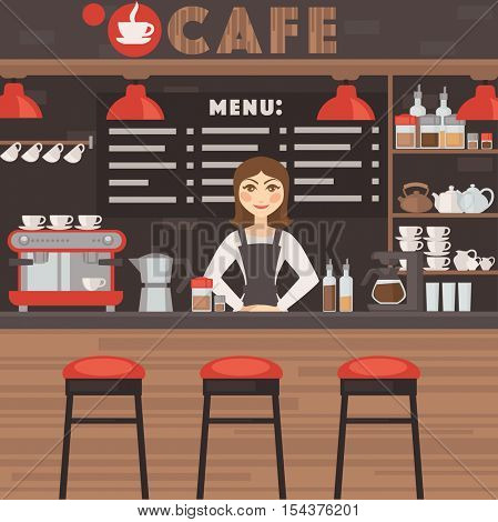 Cafe or coffee shop vector illustration with barrista. Modern bar/restaurant space and furniture: table and chair, coffee machine and cups. Vector illustration isolated on white background.