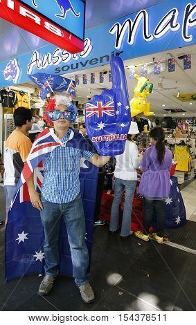 MELBOURNE, AUSTRALIA - JANUARY 25, 2016: Participant during Australia Day Parade in Melbourne