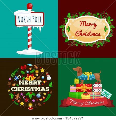 set of greeting cards and banners Merry Christmas and a Happy New Year with Christmas decorations and gifts. The inscription on the plate next to the North Pole dog rejoicing gifts.