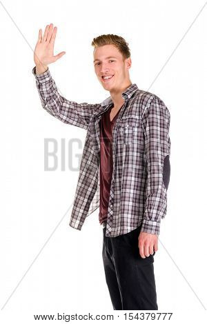 Young guy dressing urban street style kindly waving isolated on white