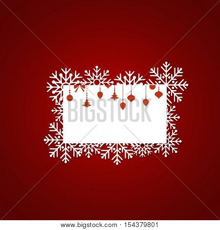 Christmas Greeting Card with snowflakes, vector illustration