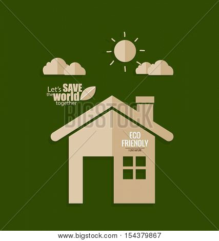 Ecology concept. Paper cut of House on green background. Vector illustration.