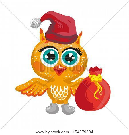 Vector cute owl. Cartoon Christmas character. Santa Claus Isolated illustration on white