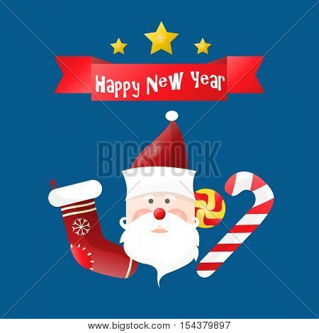 Happy New Year greeting card. Set of xmas symbols on blue background Christmas sock, candy cane and Santa Claus. Vector illustration design for holiday, celebration.