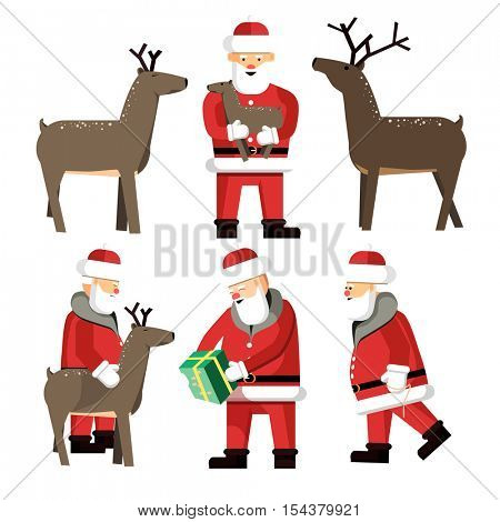 Santa Clauses set for christmas. Vector Illustration isolated