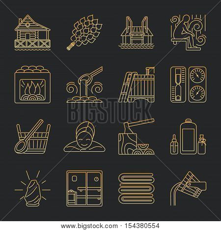 Modern Vector Line Icons with different sauna elements - sauna whisk, heater, bucket waterfall, lakeside jetty and others. Spa relaxation emblem. Sauna accessories symbols.