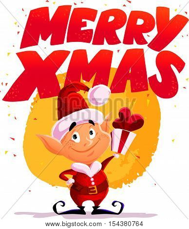 Vector flat christmas santa claus elf character portrait isolated. Cartoon style illustration. Happy New Year, Merry Xmas design element. Good for congratulation card, banner, flayer, leaflet, poster.
