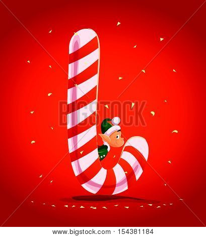Vector flat christmas santa claus elf character portrait with big sweet lollipop. Cartoon style illustration. Happy New Year, Merry Xmas design. Good for congratulation card, banner, flayer, leaflet.
