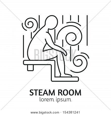 Unique Line Style Vector Logotype Template with man figure sitting in steam room. Clean and minimalist symbol perfect for your business. Sauna relaxation concept.