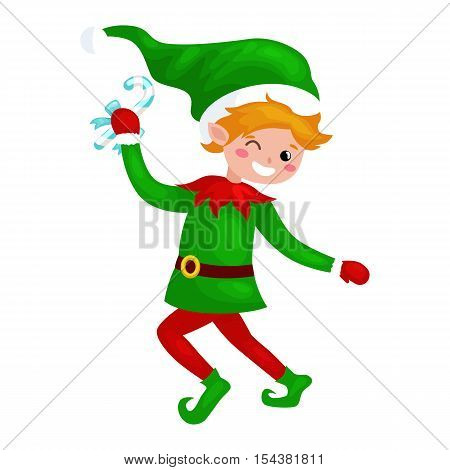 Jumping Christmas elf isolated with sweets in a green suit with, assistant of Santa Claus, boy helper holding candy for happy new year vector illustration