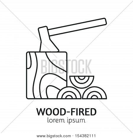 Unique Line Style Vector Logotype Template with Ax, Log and Stack of Firewood. Clean and minimalist symbol perfect for your business. Sauna relaxation concept.