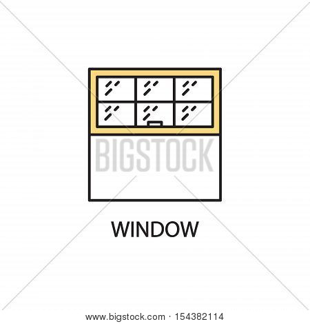 Window flat icon. High quality outline pictogram of element for interior. Vector line illustration of window for web design or mobile app. Button and symbol for design visit card, logo.