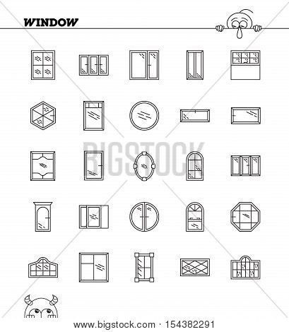Window Line Icon Set.