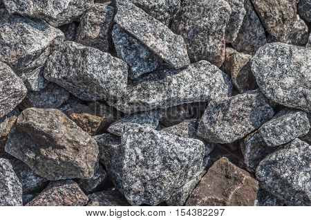 granite gravel stone on the floor outdoor ground closeup construction natural background
