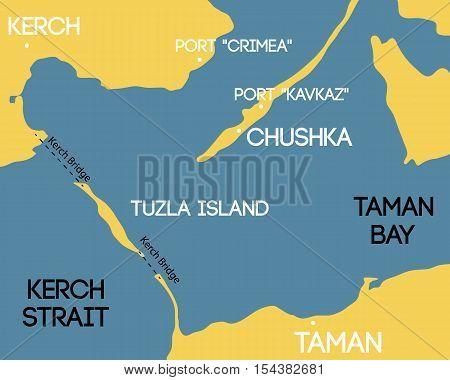 Vector illustration. Bridge to Crimea. Schematic map of Kerch bridge.