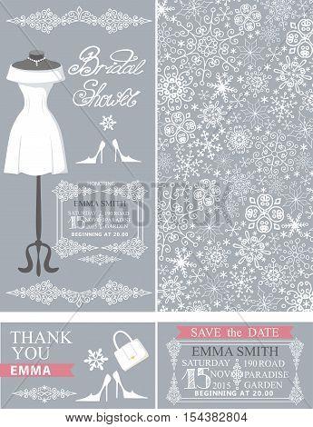 Bridal shower invitation set.Bridal wedding dress.Winter season snowflakes lace pattern, borders, frames, retro design.Save the date , thank you card.Holiday Vector, fashion illustration