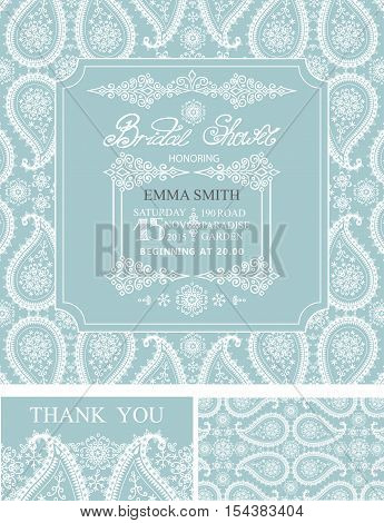 Bridal shower invitation set, wedding cards.Winter season, paisley lace pattern, border, frames, lettering title and retro design.Christmas save the date, thank you card.Holiday Vector, illustration, ornaments