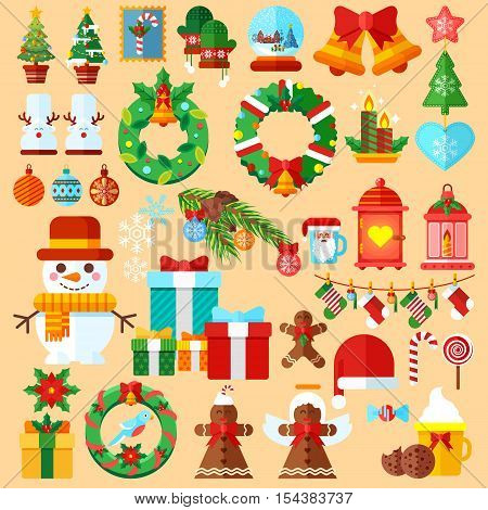 Stock vector illustrations set Christmas accessories in a flat style design elements for decoration backgrounds, printed materials, web sites, cards, covers, wallpaper