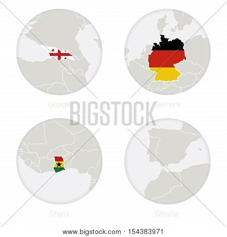 Georgia, Germany, Ghana, Gibraltar Map Contour And National Flag In A Circle.