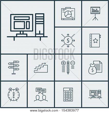 Set Of Project Management Icons On Presentation, Warranty And Money Topics. Editable Vector Illustra