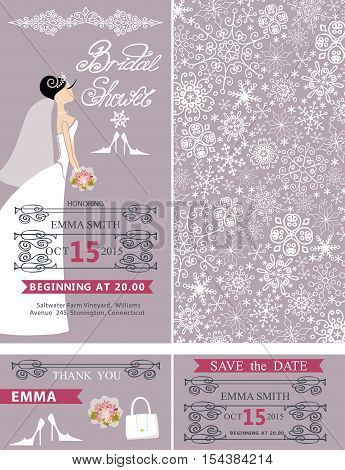 Wedding Bridal shower invitation set.Beautiful Bride in wedding dress, snowflakes lace pattern, lettering , frames , retro design.Winter season save the date, thank you card.Holiday Vector, fashion illustration