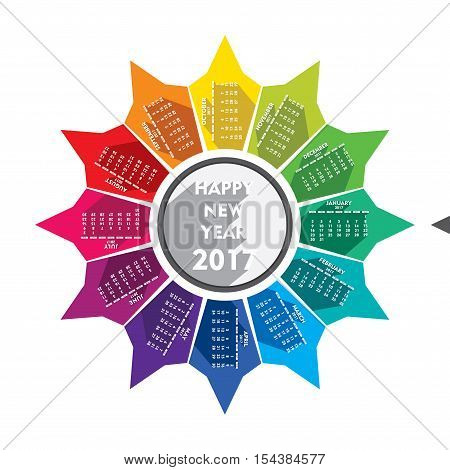 colorful new year 2017 calender design with rotate design and equal to grey arrow