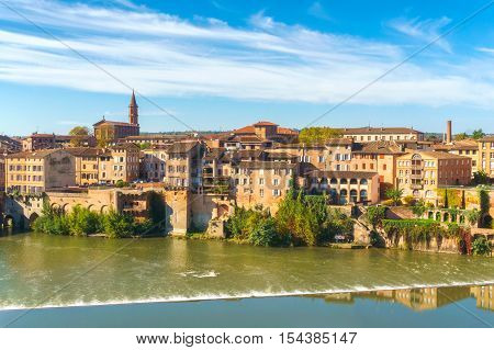Albi in Southwestern France. Albi is a world heritage UNESCO site. View of the Tarn River and the Cathedral Saint Cecile.