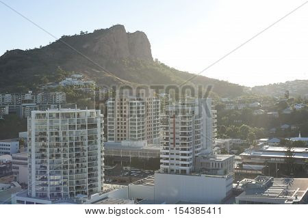 Modern high-rise architecture in downtown Townsville Queensland Australia on a bright sunny summer day with a rooftop view across the city