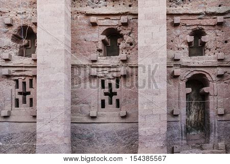 famous ancient ethiopian orthodox christian rock hewn churches of lalibela ethiopia