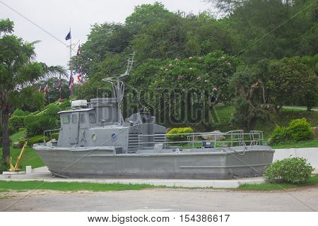 battleship memorial park at rayong thailand with selective and soft focus.