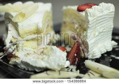 Delicious slice of cake shallow depth of field