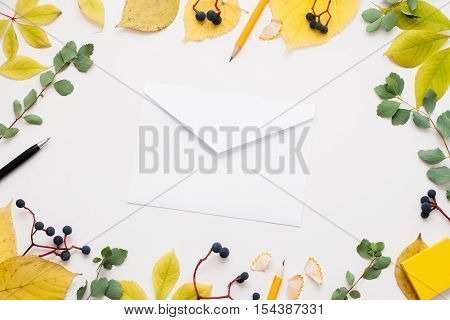 White empty envelope in autumn leaves frame. Paper cover on white background surrounded by yellow foliage and blueberry. Fall inspiration, good news, inbox concept