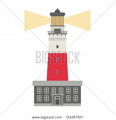 Vector cartoon flat lighthouses. Searchlight towers for maritime navigation guidance.