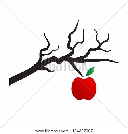 Vector logo apple on the dead tree, isolated on white