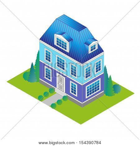 classic house in isometric view with a green lawn and trees. Vacation home in a classic style with a loft and dormer windows.