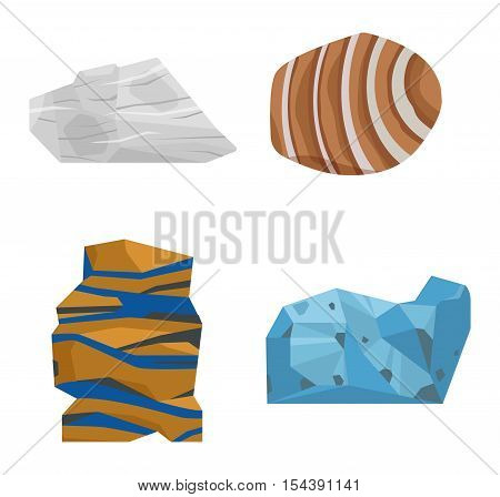 Collection set of semi precious gemstones vector stones and mineral stone isolated on white background. Mineral stone jewelry material agate mineral stone geology crystal