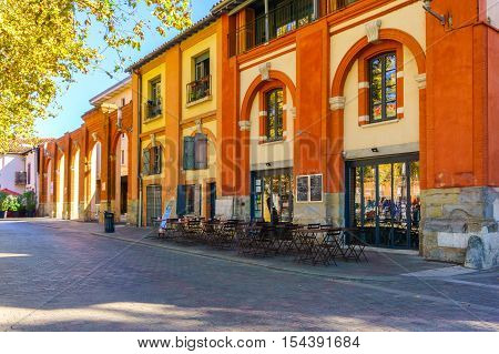 TOULOUSE FRANCE - OCTOBER 21 2016: Typical street view in old town Toulouse France