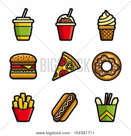 Fast food vector colored icon set. Fast food hamburger, cola, ice cream, pizza, donut, hot dog, noodles, french fries. Tasty fast food unhealthy meal. Isolated dishes on white background.