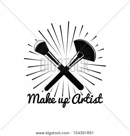 Beauty Salon Badge. Makeup Brushes Make Up Artist. Vector Illustration