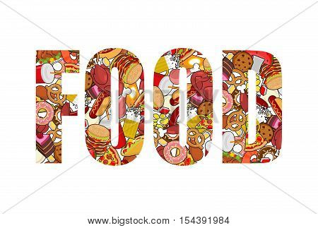 Food typography. Letters of feed. Lettering of meat. Pizza and taco. French fries and hamburger. Hotdog and cookies. Baked turkey and watermelon. Pork and cake. Donuts and dumplings