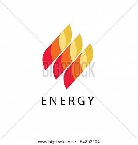 Energy logo vector illustration, abstract fire flame brand, logotype for oil or gas station, dynamic creative power symbol element design isolated on white background