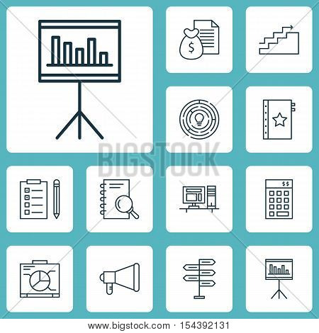 Set Of Project Management Icons On Investment, Board And Analysis Topics. Editable Vector Illustrati