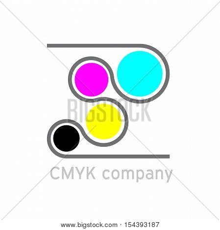 Vector logo CMYK Printing in abstract shape
