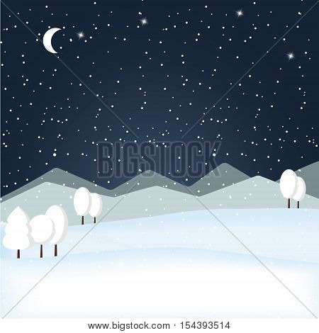 Vector winter wonderland night background. Snowy mountain. Winter time. Starry night sky. The falling snow.