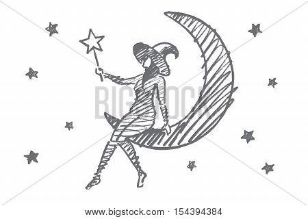 Vector hand drawn Halloween magic girl concept sketch. Halloween girl in cap sitting on Moon in sky with stars and holding magic wand in hand